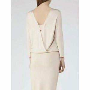 Reiss Ladies REN-Viscose Plates Dress in Eggshell